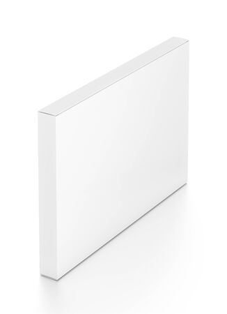 far: White wide thin horizontal rectangle blank box from top far side angle. 3D illustration isolated on white background. Stock Photo