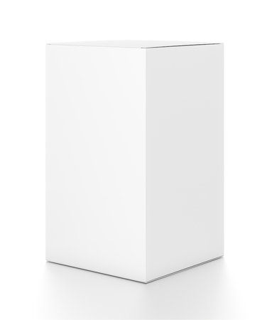 tall: White vertical rectangle blank box from side angle. 3D illustration isolated on white background. Stock Photo