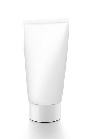 front side: White vertical cosmetic cream tube from front side angle. 3D illustration isolated on white background.