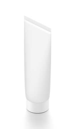 White vertical cosmetic cream toothpaste tube from isometric angle. 3D illustration isolated on white background.