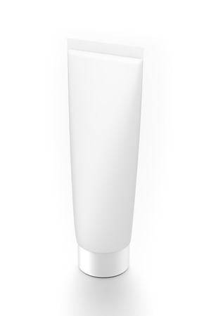 toothpaste tube: White vertical cosmetic cream toothpaste tube from top side angle. 3D illustration isolated on white background.