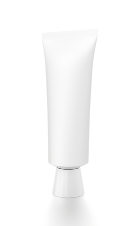 toothpaste tube: White vertical cosmetic cream toothpaste tube from front side angle. 3D illustration isolated on white background.