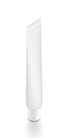 toothpaste tube: White vertical cosmetic cream toothpaste tube from top side far angle. 3D illustration isolated on white background.