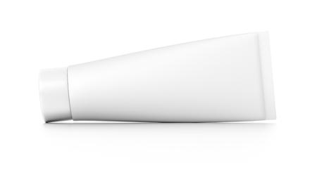 toothpaste tube: White horizontal cosmetic cream toothpaste tube from front angle. 3D illustration isolated on white background.