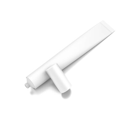 White horizontal cosmetic cream tube from top front closeup angle. 3D illustration isolated on white background.