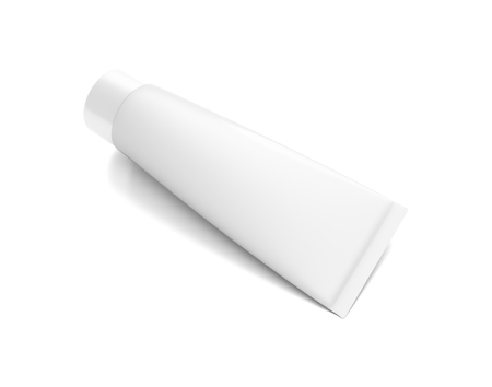 toothpaste tube: White horizontal cosmetic cream toothpaste tube from top front angle. 3D illustration isolated on white background.