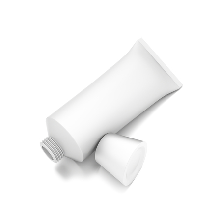toothpaste tube: White horizontal cosmetic cream toothpaste tube from top front closeup angle. 3D illustration isolated on white background.