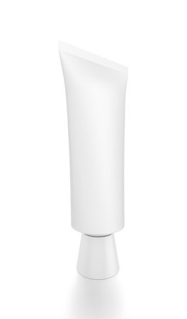 toothpaste tube: White vertical cosmetic cream toothpaste tube from front closeup side angle. 3D illustration isolated on white background.