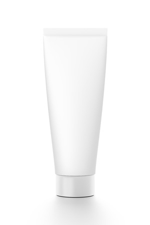 toothpaste tube: White vertical cosmetic cream toothpaste tube from front angle. 3D illustration isolated on white background.