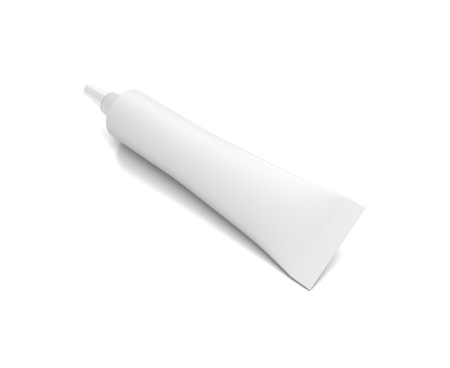 White horizontal cosmetic cream tube from top front angle. 3D illustration isolated on white background.