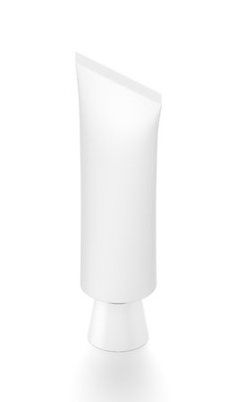 toothpaste tube: White vertical cosmetic cream toothpaste tube from isometric angle. 3D illustration isolated on white background.