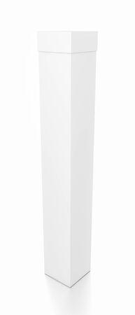 Weißer großer leerer Kasten des vertikalen Rechtecks ??mit Abdeckung vom Spitzenseitenwinkel. Illustration 3D lokalisiert auf weißem Hintergrund. Standard-Bild - 62289480