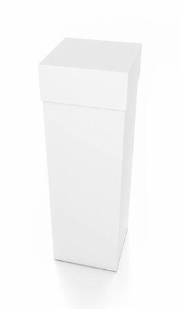 Weiß hohen vertikalen Rechteck leere Box mit Deckel von oben Vorderseite Winkel. 3D-Darstellung auf weißem Hintergrund. Standard-Bild - 62289381