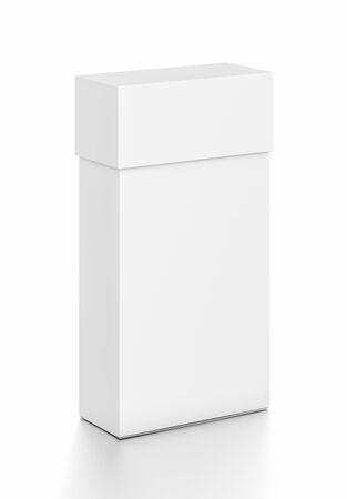 Weiße dünne vertikale Rechteck leere Box mit Abdeckung von oben Vorderansicht . 3D Abbildung isoliert auf weißem Hintergrund Standard-Bild - 62289143