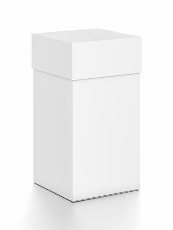 Weiße vertikale Rechteck leere Box mit Deckel von oben Vorderseite Winkel. 3D-Darstellung auf weißem Hintergrund. Standard-Bild - 62289082