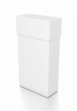 Weiße dünne vertikale Rechteck leere Box mit Deckel von oben Winkel. Abbildung 3D getrennt auf weißem Hintergrund. Standard-Bild - 62288938
