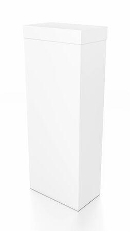 Weiß hohen vertikalen Rechteck leere Box mit Deckel von oben Seitenwinkel. 3D-Darstellung auf weißem Hintergrund. Standard-Bild - 62288971
