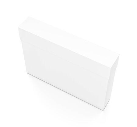 Weiße dünne horizontale Rechteck leere Box mit Deckel von oben Seitenwinkel. 3D-Darstellung auf weißem Hintergrund. Standard-Bild - 62288518