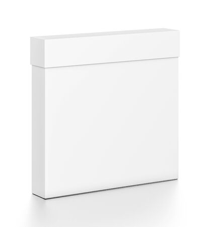 White thin rectangle blank box with cover from top front side angle. 3D illustration isolated on white background. Reklamní fotografie