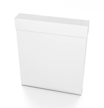 White thin vertical rectangle blank box with cover from top front side angle. 3D illustration isolated on white background.