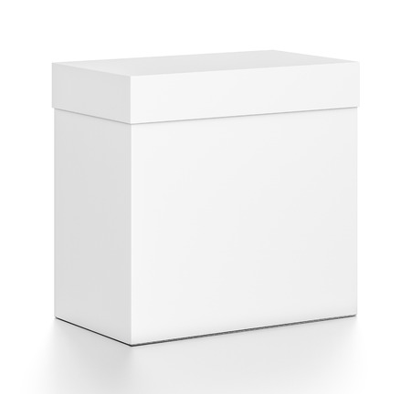 White rectangle blank box with cover from top front side angle. 3D illustration isolated on white background.