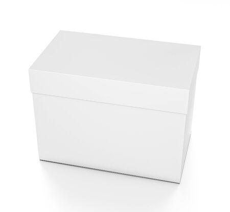 Leeres Kästchen des weißen horizontalen Rechtecks ??mit Abdeckung vom oberen vorderen Seitenwinkel. Illustration 3D lokalisiert auf weißem Hintergrund. Standard-Bild - 62288470