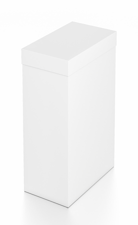 White tall vertical rectangle blank box with cover from top far side angle. 3D illustration isolated on white background.