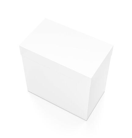 White rectangle blank box with cover from top side angle. 3D illustration isolated on white background. Reklamní fotografie