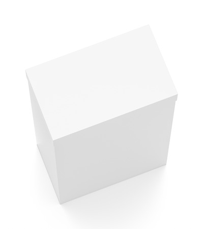 White tall vertical rectangle blank box with cover from top angle. 3D illustration isolated on white background.
