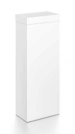 Weiße große vertikale Rechteck leere Box mit Abdeckung von oben Vorderansicht . 3D Abbildung isoliert auf weißem Hintergrund Standard-Bild - 62288371