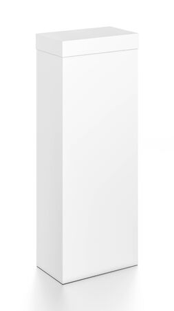 White tall vertical rectangle blank box with cover from top front side angle. 3D illustration isolated on white background.