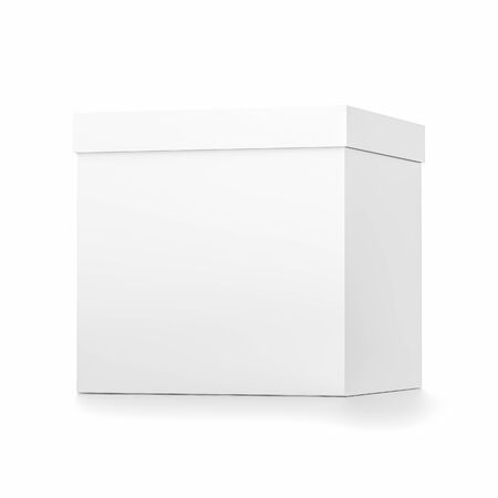 White cube blank box with cover from front far side angle. 3D illustration isolated on white background.