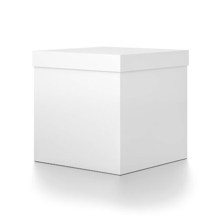 White cube blank box with cover from side angle. 3D illustration isolated on white background.