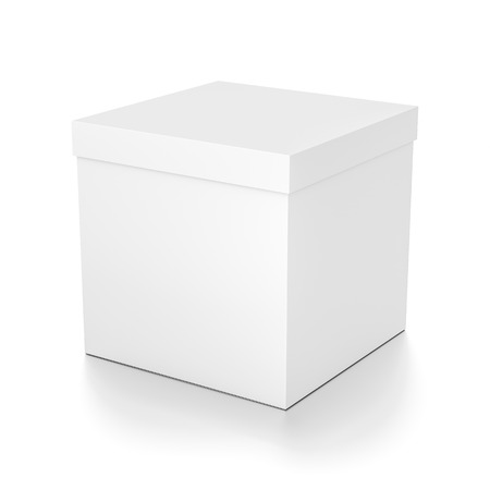 White cube blank box with cover from top side angle. 3D illustration isolated on white background. Stock Photo