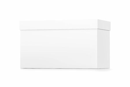 White horizontal rectangle blank box with cover from front far side angle. 3D illustration isolated on white background.