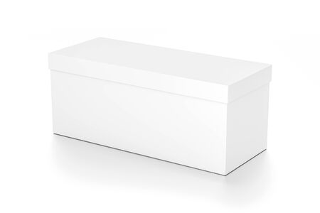 White wide horizontal rectangle blank box with cover from top side angle. 3D illustration isolated on white background.