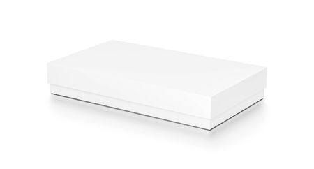 White thin horizontal rectangle blank box with cover from top side angle. 3D illustration isolated on white background.