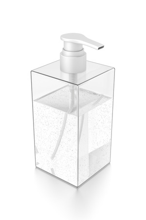White cosmetic bottle dispenser pump with rectangle transparent bubble liquid filled container from top angle. 3D illustration isolated on white background.