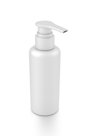 cleanliness: White cosmetic bottle dispenser pump with tube container from top angle. 3D illustration isolated on white background.