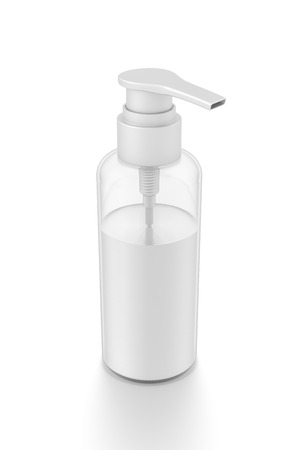 cleanliness: White cosmetic bottle dispenser pump with tube transparent white liquid filled container from top angle. 3D illustration isolated on white background.