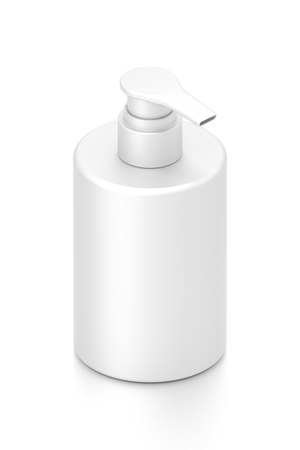 White cosmetic bottle dispenser pump with tube container from isometric angle. 3D illustration isolated on white background.