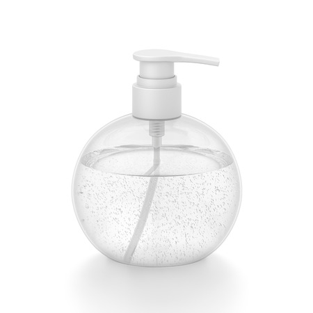 White cosmetic bottle dispenser pump with round transparent bubble liquid filled container from front top angle. 3D illustration isolated on white background.