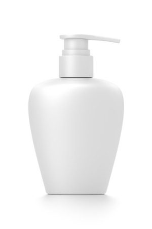 White cosmetic bottle dispenser pump with oval container from front angle. 3D illustration isolated on white background. Фото со стока