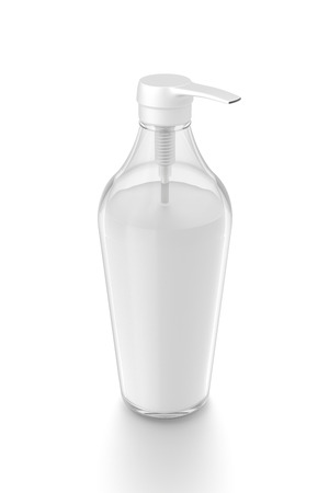 White cosmetic bottle dispenser pump with tube transparent white liquid filled container from top angle. 3D illustration isolated on white background.