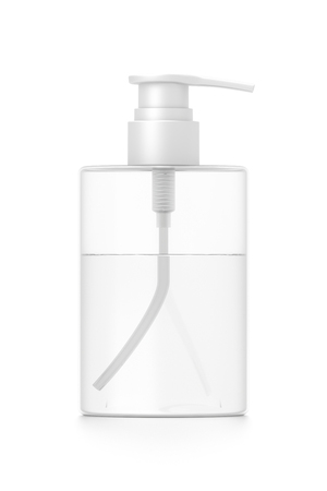 White cosmetic bottle dispenser pump with tube transparent liquid filled container from front angle. 3D illustration isolated on white background.