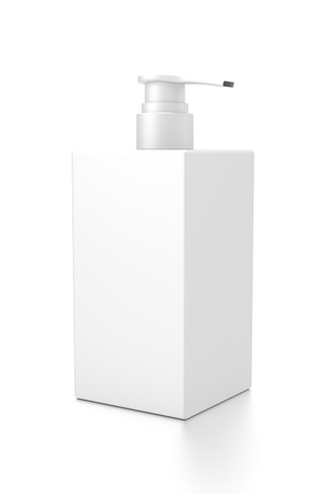 cleanliness: White cosmetic bottle dispenser pump with rectangle container from side angle. 3D illustration isolated on white background.