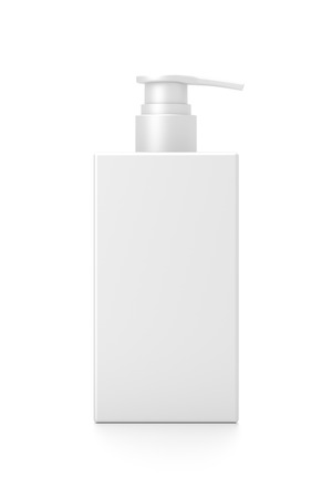 White cosmetic bottle dispenser pump with rectangle container from front angle. 3D illustration isolated on white background. Фото со стока