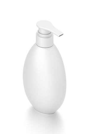 White cosmetic bottle dispenser pump with oval container from isometric angle. 3D illustration isolated on white background. Фото со стока