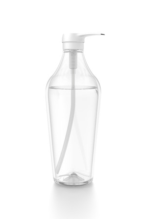 White cosmetic bottle dispenser pump with tube transparent liquid filled container from side angle. 3D illustration isolated on white background.