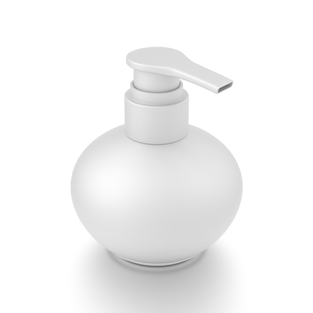White cosmetic bottle dispenser pump with round container from top angle. 3D illustration isolated on white background. 版權商用圖片